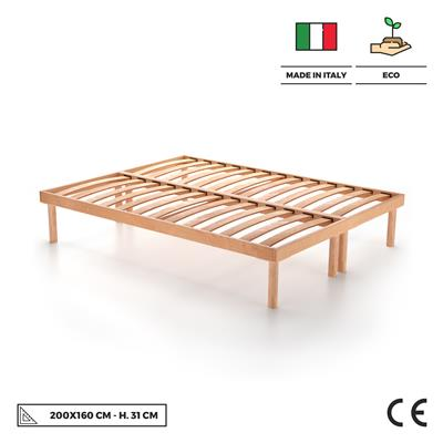 160x200 31h wooden slatted double bed frame