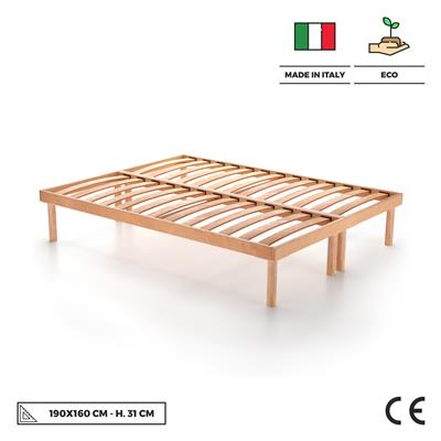 160x190 31h wooden slatted double bed frame