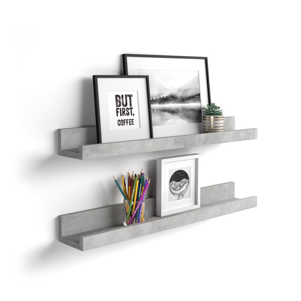 Pair of picture-holder shelves First, 80 cm, Grey Concrete