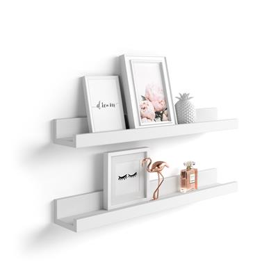 Pair of picture-holder shelves First, White Ash