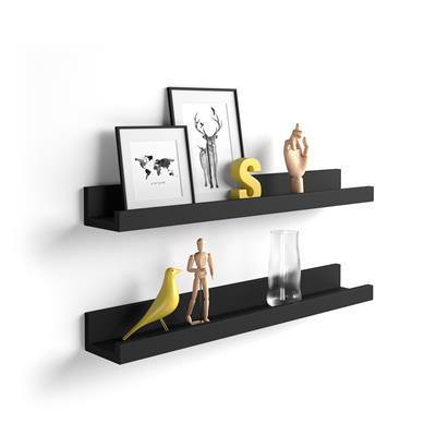 Pair of picture-holder shelves First, Black Ash
