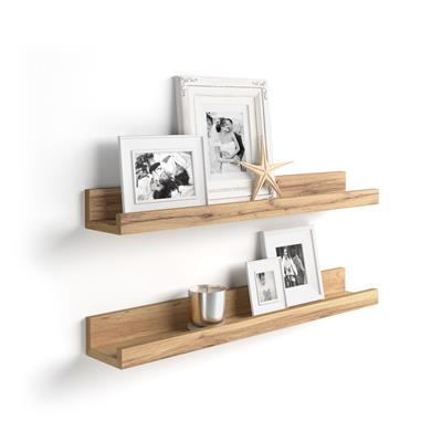 Pair of picture-holder shelves First, 80 cm, Rustic Wood