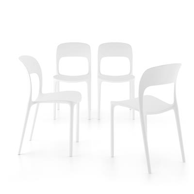 4-piece set of Amanda dining chairs, White