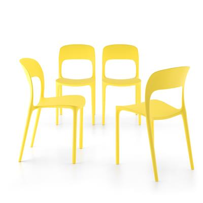 4-piece set of Amanda dining chairs, Yellow