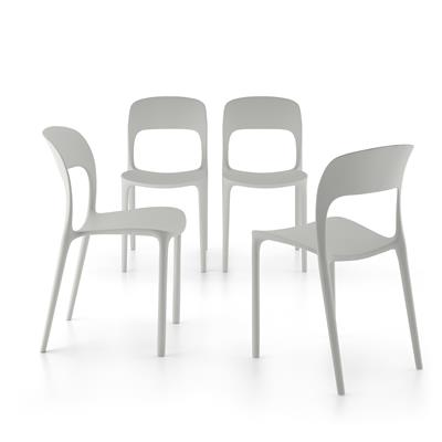 4-piece set of Amanda dining chairs, Grey