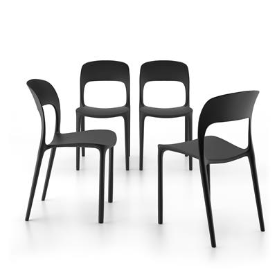4-piece set of Amanda dining chairs, Black