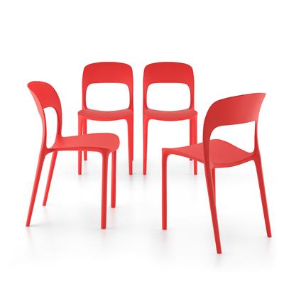 4-piece set of Amanda dining chairs, Red