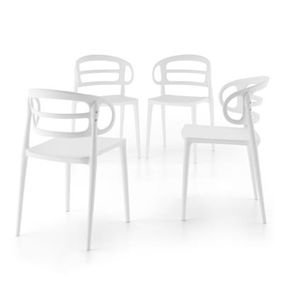 4-piece set of Carlotta modern kitchen chairs, White