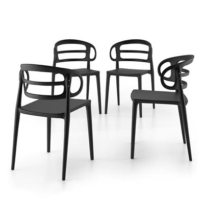 4-piece set of Carlotta modern kitchen chairs, Black