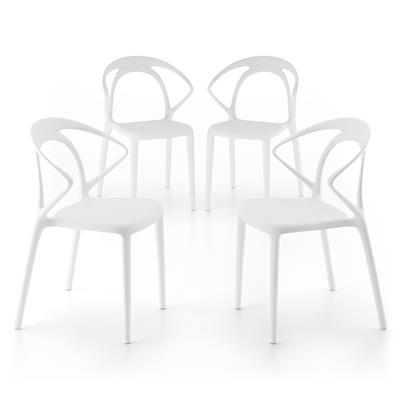 Lot de 4 Chaises de design Olivia, Blanc