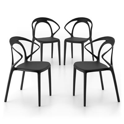 Lot de 4 Chaises de design Olivia, Noir