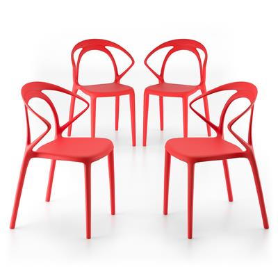 4 piece set of Olivia design lounge chairs, Red