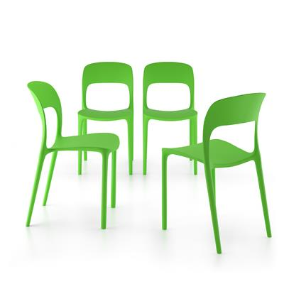 4-piece set of Amanda dining chairs, Green
