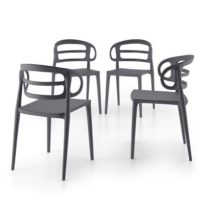 4-piece set of Carlotta modern kitchen chairs, Grey