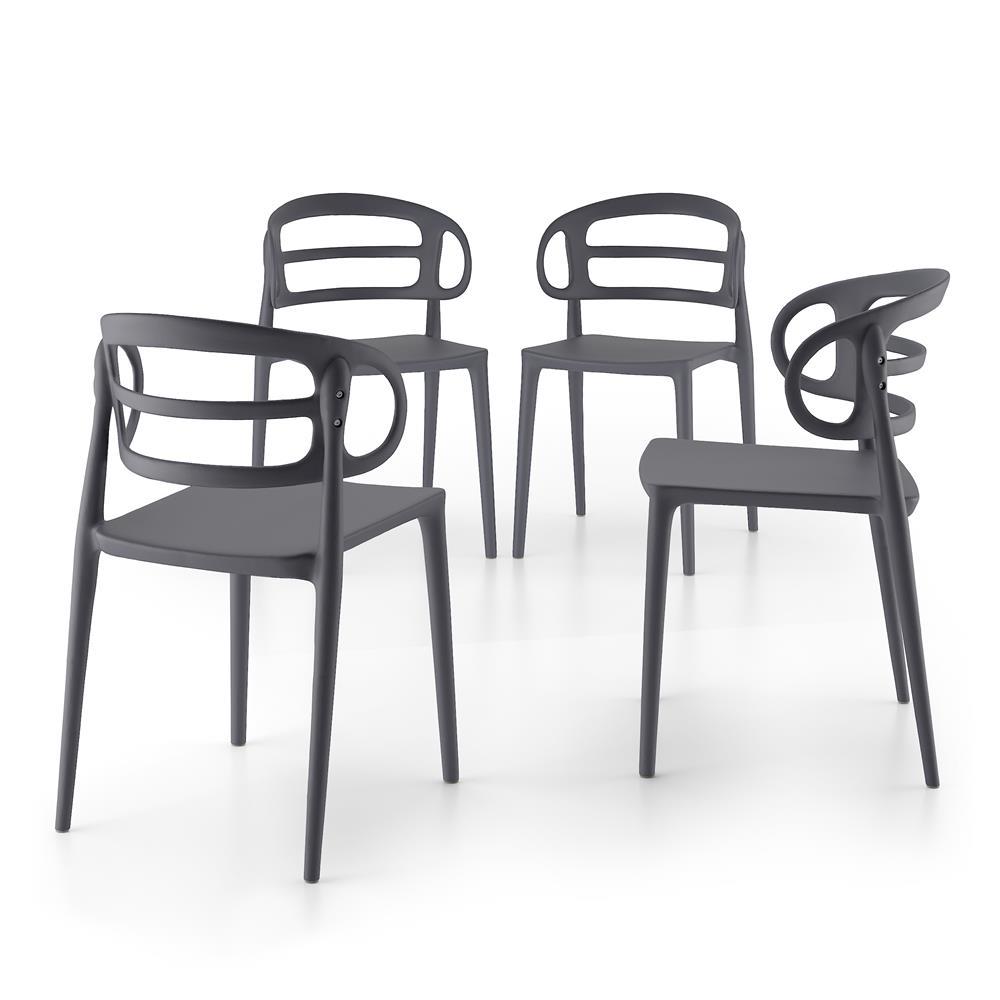 Set 4 sedie moderne da cucina carlotta grigio mobili fiver for Sedie cucina moderne