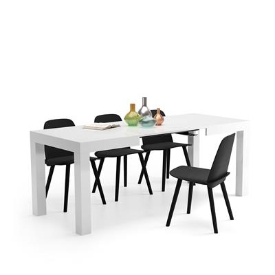 Mesa de Cocina Extensible, modelo First, color blanco brillante