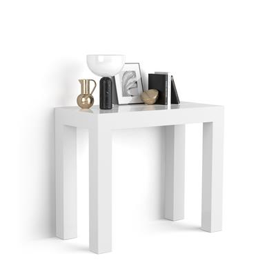 Mesa Consola Extensible, modelo First, color blanco brillante