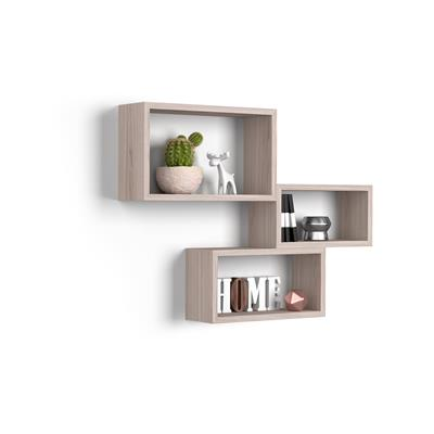 Set of 3 wall-mounted cube shelves, Giuditta, Laminate-faced, Pearled Elm