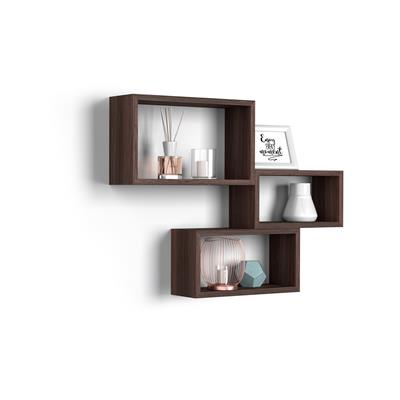 Set of 3 wall-mounted cube shelves, Giuditta, Laminate-faced, Brown Oak