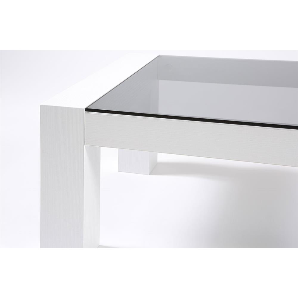 Coffee table, Tempered glass top, Iacopo, White Ash