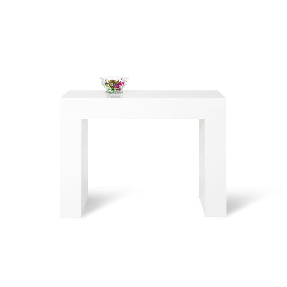 Table console, Evolution, Blanc laqué brillant